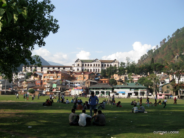 Chamba town from across the chaugan with the Akhand Chandi Palace dominating the ridge