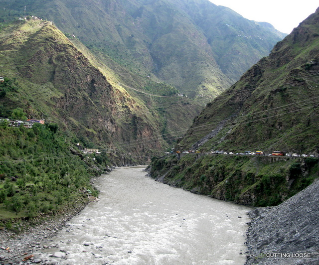 Land slip along the Ravi en route Bharmour
