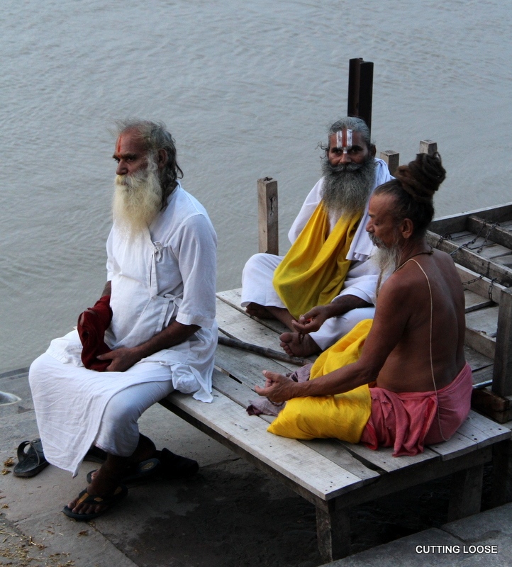 Sadhus enjoy a Saryu sunset